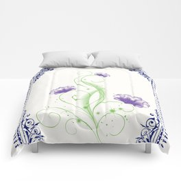Vintage Purple Flower 2 with Blue Border  Comforters