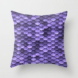 Mermaid Scales Periwinkle Ultra Violet Throw Pillow