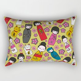 Mustard Kokeshi Dolls Rectangular Pillow
