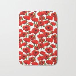 Red Poppy Pattern Bath Mat