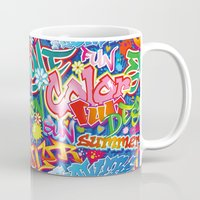 graffiti Mugs featuring Graffiti by Helene Michau