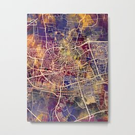 Leeuwarden Netherlands City Map Metal Print