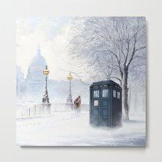 Tardis Snow Romantic Metal Print