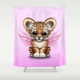 Cute Baby Tiger Cub with Fairy Wings on Pink Shower Curtain