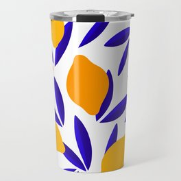 Blue and yellow Lemon Summery Pattern Travel Mug
