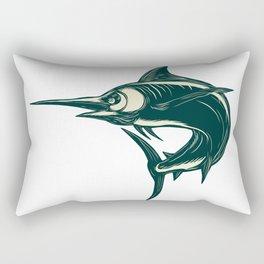 Atlantic Blue Marlin Scraperboard Rectangular Pillow