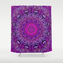 Pink and Purple Glowing Mandala Shower Curtain