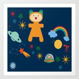 space teddy bear Art Print
