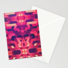 Abstract symmetric geometric triangle texture pattern design in diabolic future red Stationery Cards