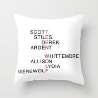 teen wolf Throw Pillows featuring Teen Wolf  by Dan Lebrun