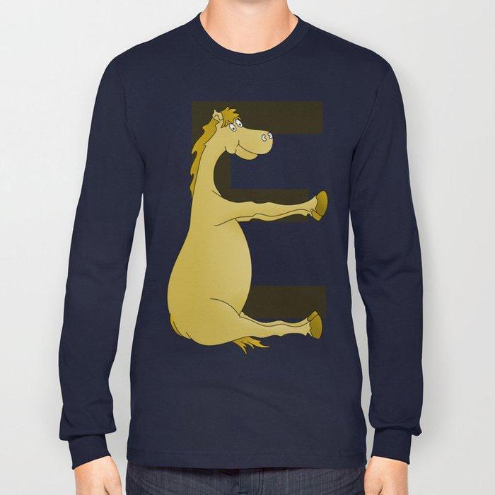 Pony Monogram Letter E Long Sleeve T-shirt