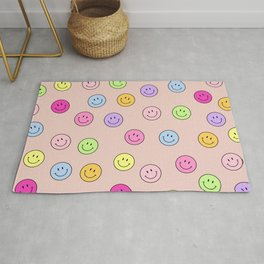 Smiley Face Print Smile Face Happy Smiling Faces Rainbow Colors Pattern Rug