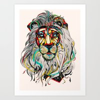 yellow Art Prints featuring Lion by Felicia Atanasiu