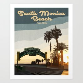 Santa Monica Beach Art Print