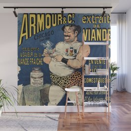 Funny vintage meat extract advertising Wall Mural
