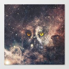 Purple Galaxy Nebula Stars Blue Space Hipster Owl Canvas Print