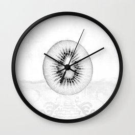 Black and White Kiwi Fruit Wall Clock