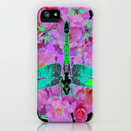 EMERALD DRAGONFLIES  PINK ROSES  BLACK COLOR iPhone Case