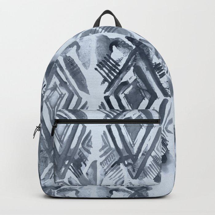 Simply Ikat Ink in Indigo Blue on Sky Blue Backpack