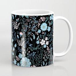 Star Sapphire Floral Celebration Blue on Black Coffee Mug