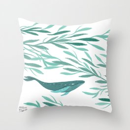 Whales in flight Throw Pillow