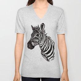 Watercolor Zebra Unisex V-Neck