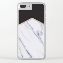 Gilded ebony and soft white marble Clear iPhone Case
