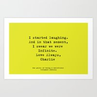 the perks of being a wallflower Art Prints featuring Perks of Being a Wallflower  by Mackenzie Hahn