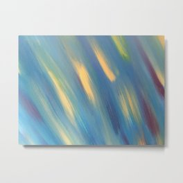 Blue with Gold Streaks Metal Print