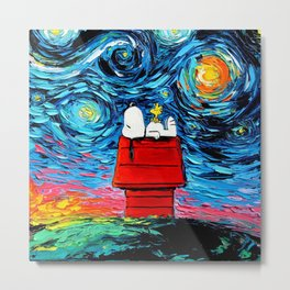 snoopy peanuts starry night Metal Print