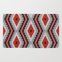 navajo Area & Throw Rugs featuring Navajo red by spinL