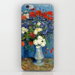 Vase With Cornflowers And Poppies iPhone Skin
