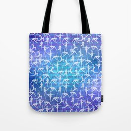Yoga Asanas pattern on watercolor purple and blue Tote Bag