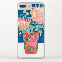 Protea in Enamel Flamingo Tumbler Painting Clear iPhone Case