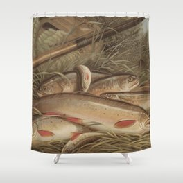 Vintage Painting of Caught Brook Trout (1868) Shower Curtain