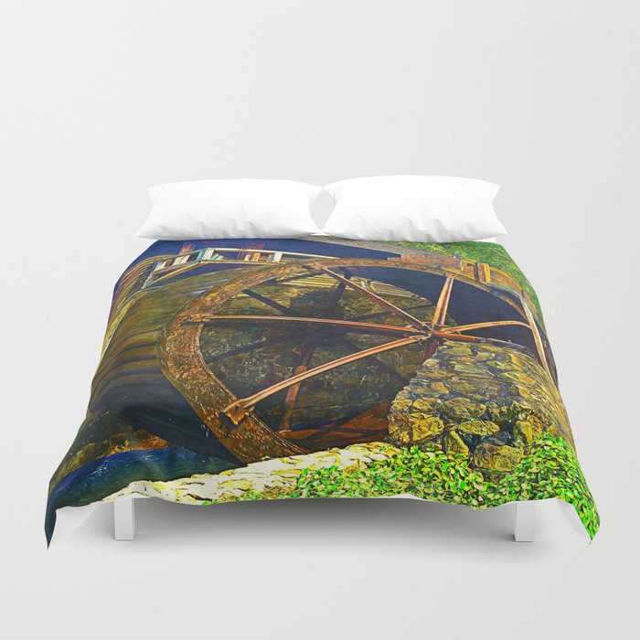 Gristmill Water Wheel Duvet Cover