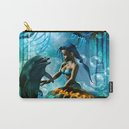 Cute mermaid with dolphin Carry-All Pouch