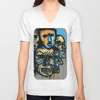 talking heads V-neck T-shirts featuring Heads by andres lozano