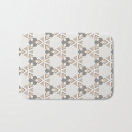 Neutral Grey Taupe Triange Pattern Design Bath Mat
