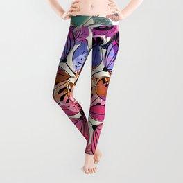 Pink and indigo flower pattern Leggings