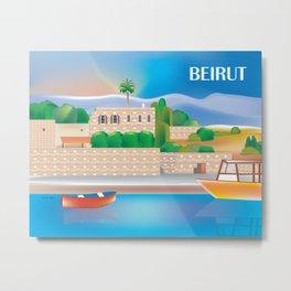 Beirut, Lebanon - Skyline Illustration by Loose Petals Metal Print