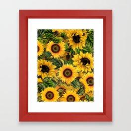 Vintage & Shabby Chic - Noon Sunflowers Garden Framed Art Print