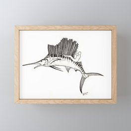 Surfing the fish Framed Mini Art Print