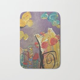 Cat in the city Bath Mat