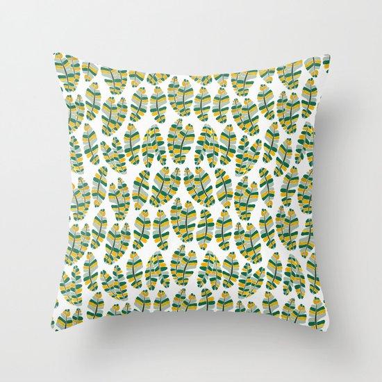 Banana Gold Leaves Throw Pillow
