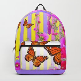MONARCH BUTTERFLIES  PINK & LILAC GARDEN ABSTRACT Backpack