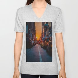 New York City Taxi Sunset (Color) Unisex V-Neck