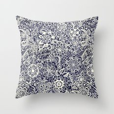 Lace on Nautical Navy Blue Throw Pillow