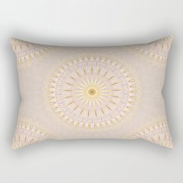 Beige Gold Mandala Medallion Rectangular Pillow