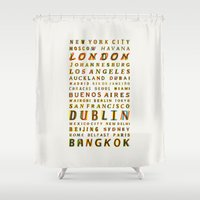 cities Shower Curtains featuring Travel World Cities by Fimbis